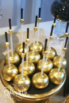 Golden cake pops