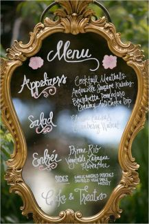 Beautiful menu in a patina frame