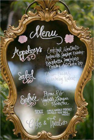 Beautiful menu in a patina frame